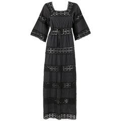 c.1960's Black Pleated Crochet Knit Mexican Wedding Tie Waist Maxi Dress