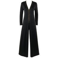 c.1960's - c.1970's Black Gold Metal Stud Embellished Wide Flare Pant Jumpsuit
