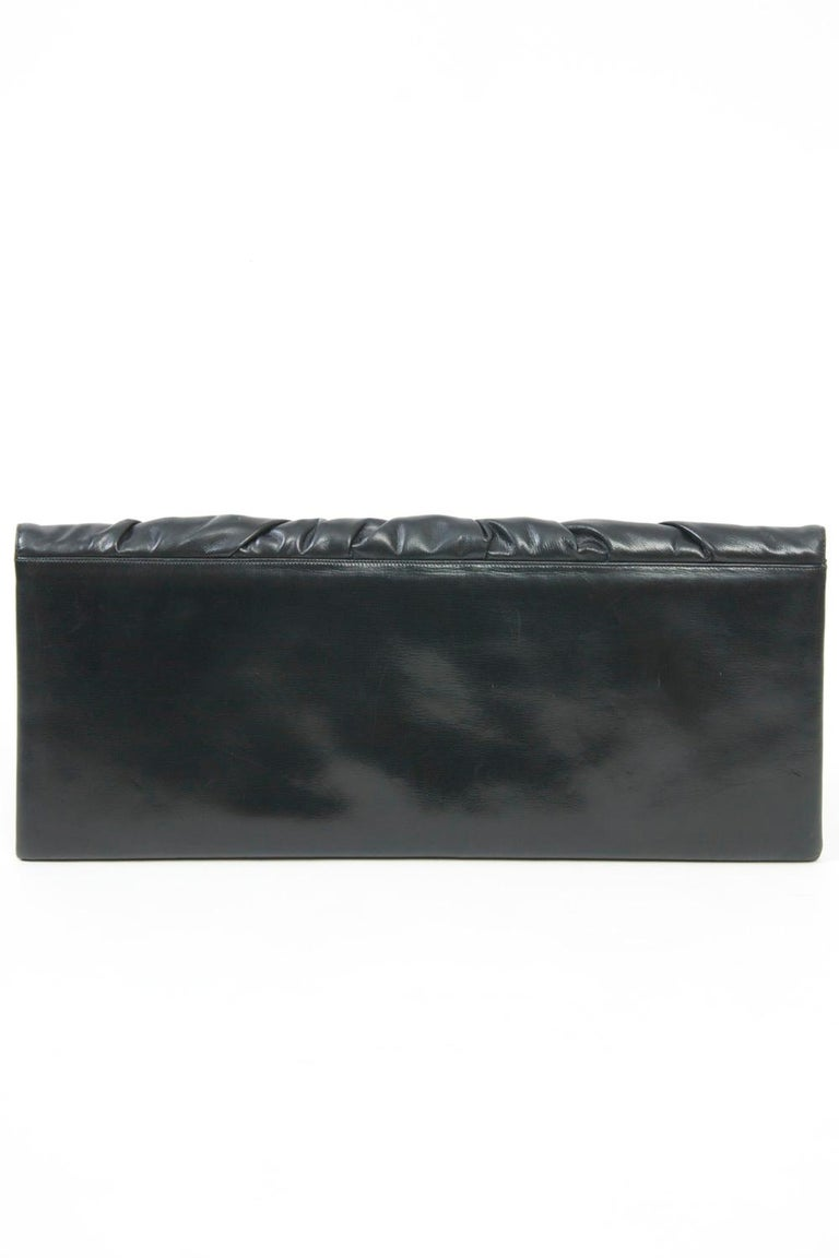 c.1960s Elongated Black Leather Clutch In Good Condition In Alford, MA