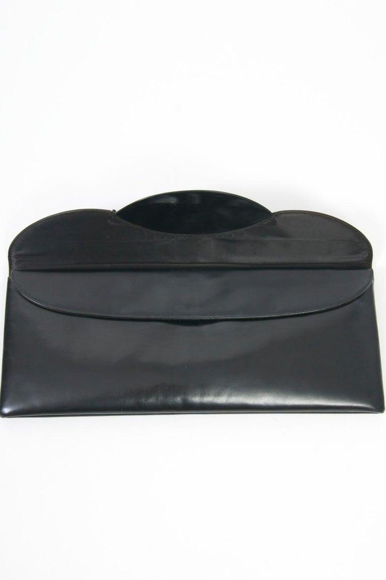c.1960s Elongated Black Leather Clutch 4