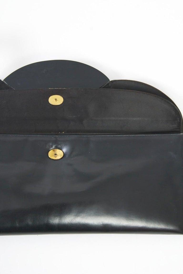 c.1960s Elongated Black Leather Clutch 5