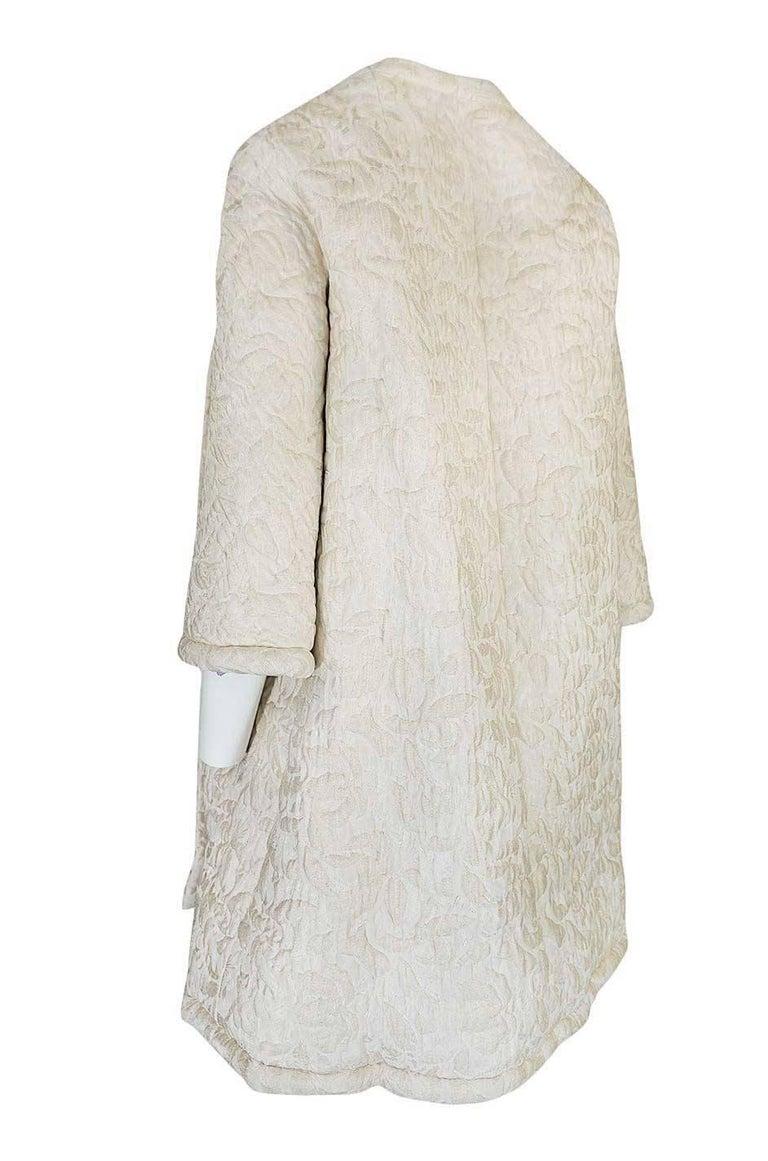 c1965 Nina Ricci Haute Couture Sheepskin Lined Ivory Silk Coat For Sale 1