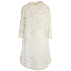 c1965 Nina Ricci Haute Couture Sheepskin Lined Ivory Silk Coat