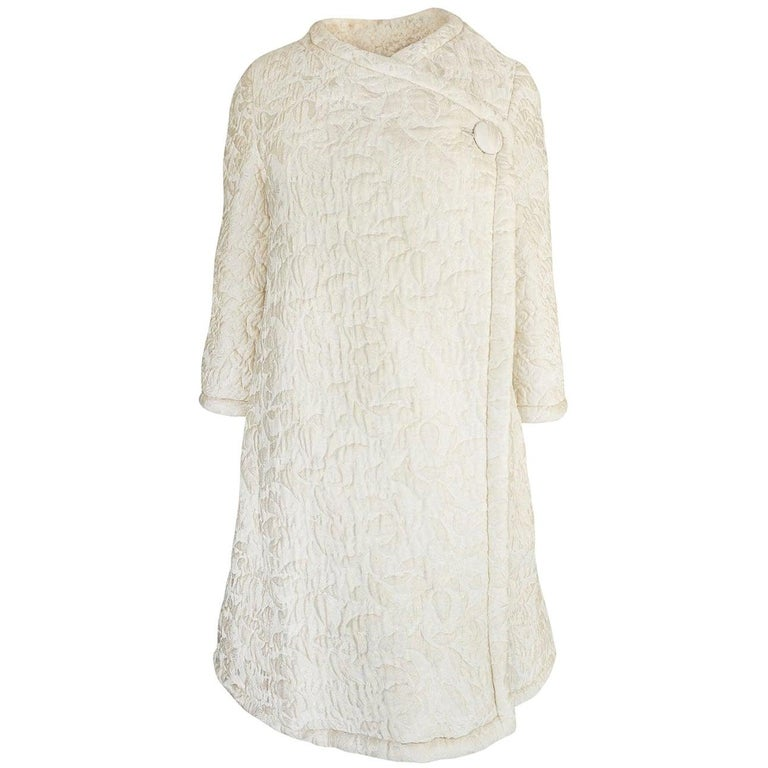 c1965 Nina Ricci Haute Couture Sheepskin Lined Ivory Silk Coat For Sale