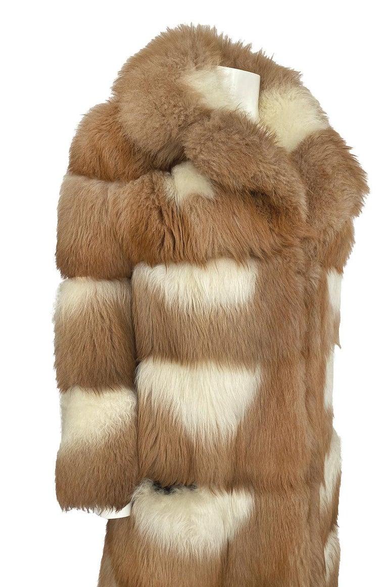 c.1968- 1972 Christian Dior Shaggy Two Toned Sheepskin Fur Coat For Sale 6