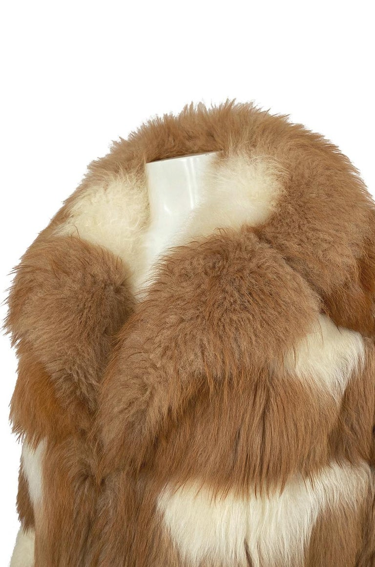 c.1968- 1972 Christian Dior Shaggy Two Toned Sheepskin Fur Coat For Sale 8