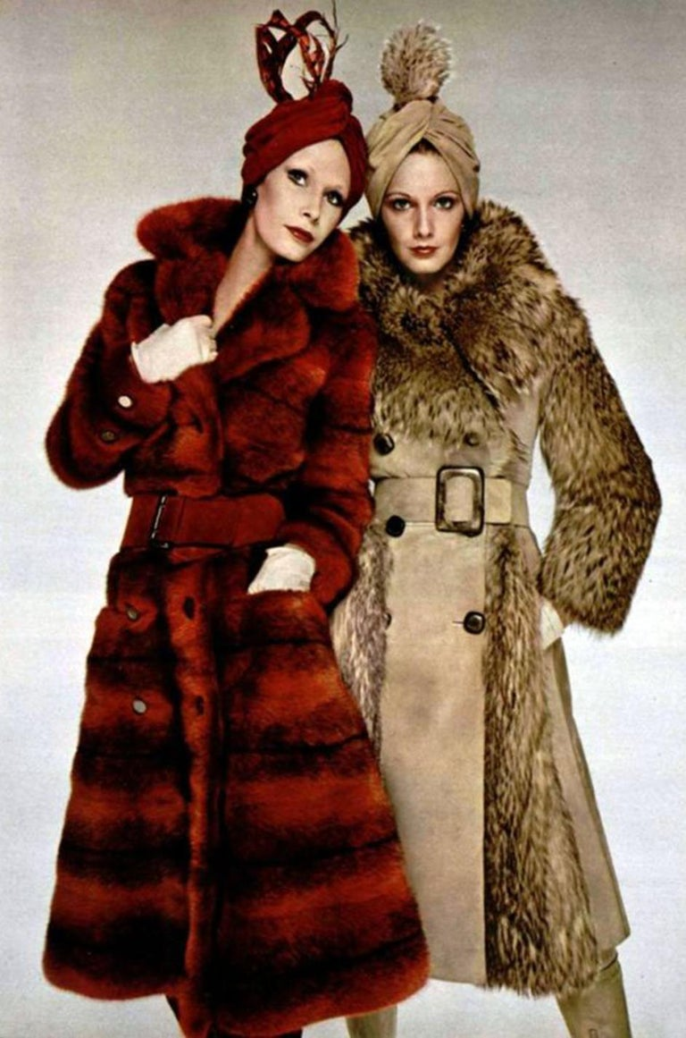 c.1968- 1972 Christian Dior Shaggy Two Toned Sheepskin Fur Coat For Sale 10