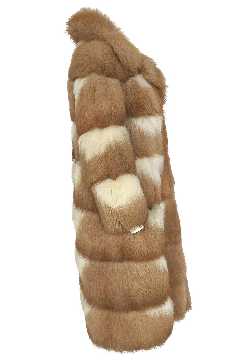 c.1968- 1972 Christian Dior Shaggy Two Toned Sheepskin Fur Coat In Excellent Condition For Sale In Rockwood, ON