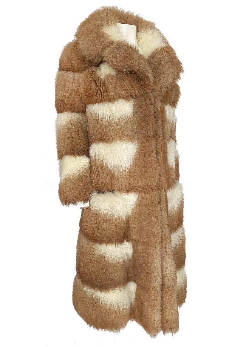 Women's or Men's c.1968- 1972 Christian Dior Shaggy Two Toned Sheepskin Fur Coat For Sale