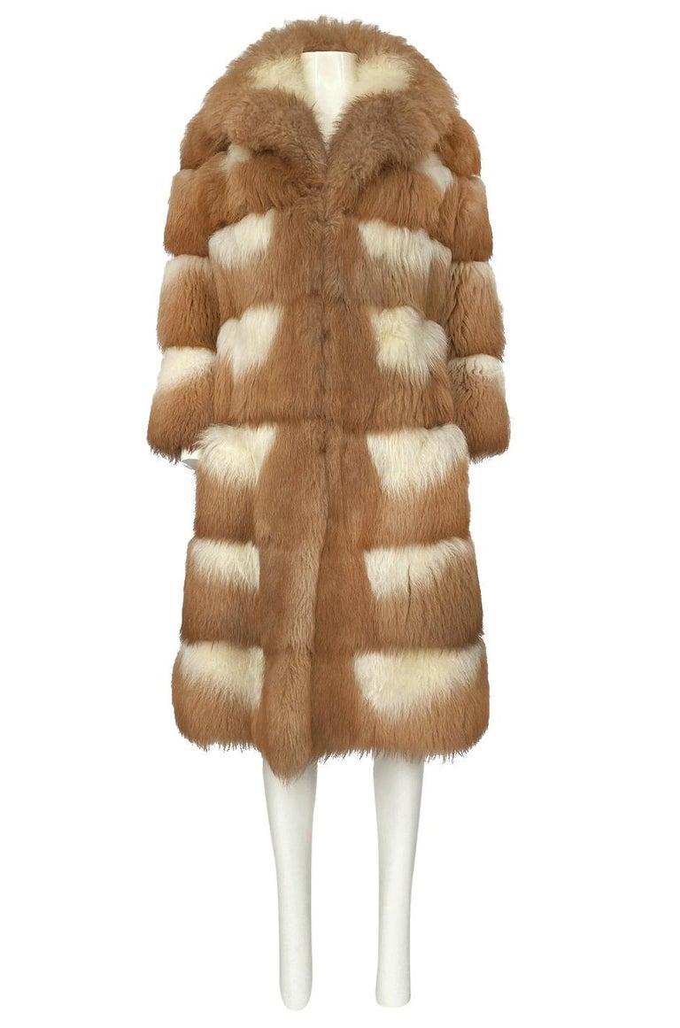 c.1968- 1972 Christian Dior Shaggy Two Toned Sheepskin Fur Coat For Sale 1
