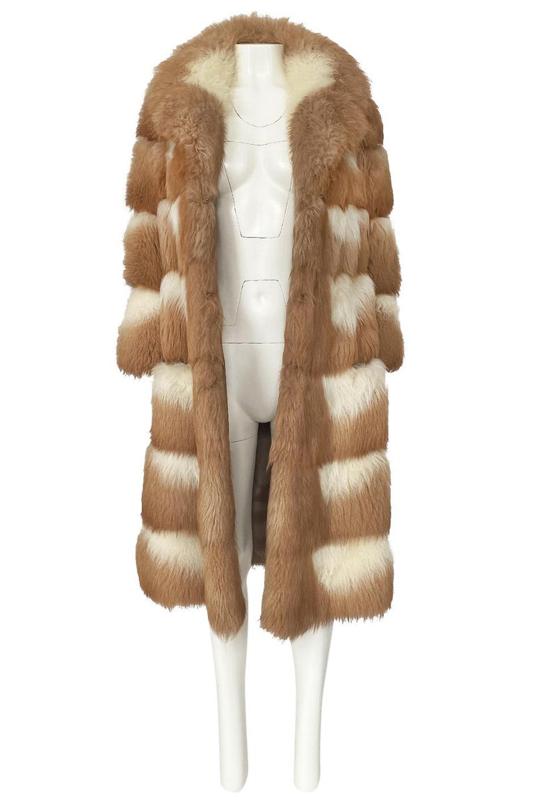 c.1968- 1972 Christian Dior Shaggy Two Toned Sheepskin Fur Coat For Sale 2