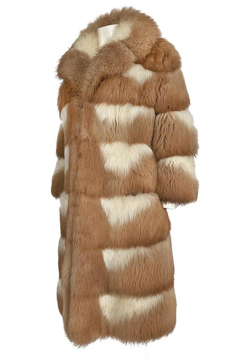 c.1968- 1972 Christian Dior Shaggy Two Toned Sheepskin Fur Coat For Sale 3