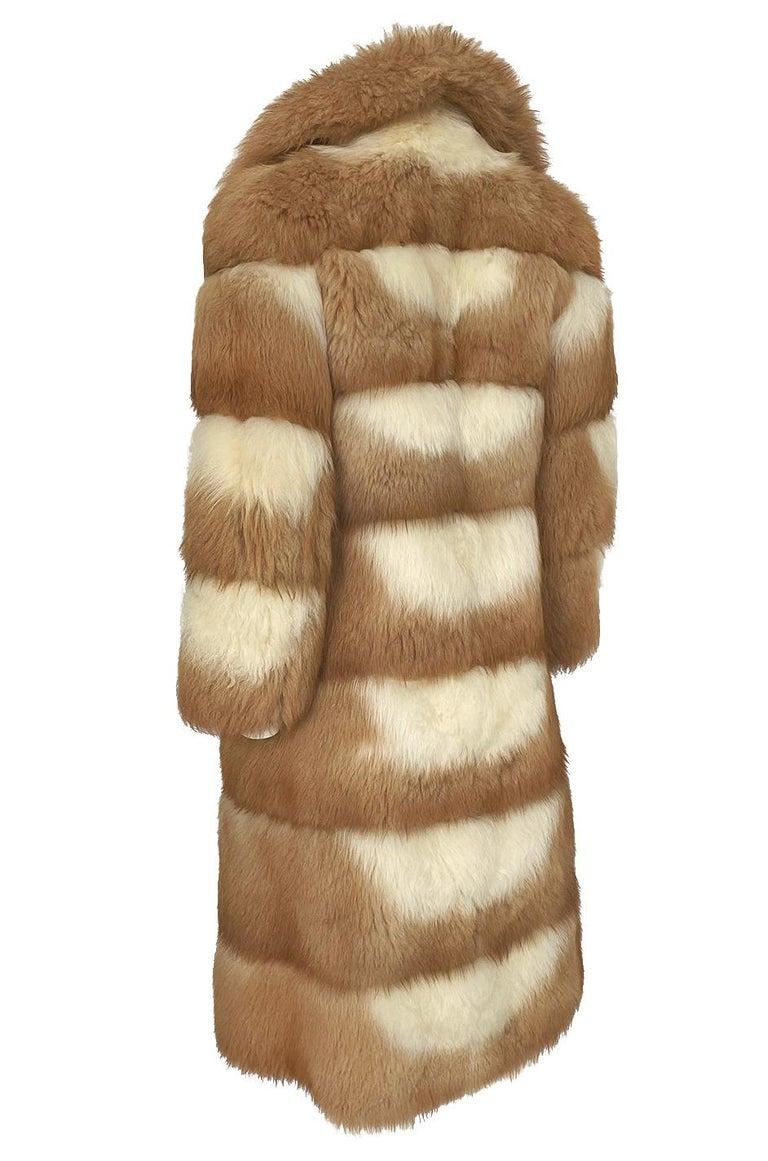 c.1968- 1972 Christian Dior Shaggy Two Toned Sheepskin Fur Coat For Sale 4