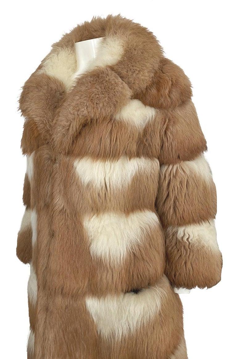 c.1968- 1972 Christian Dior Shaggy Two Toned Sheepskin Fur Coat For Sale 5