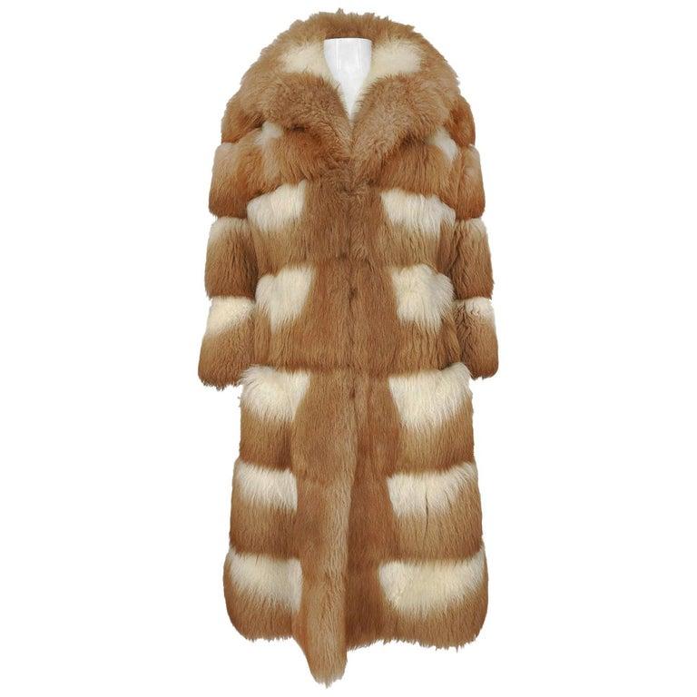 c.1968- 1972 Christian Dior Shaggy Two Toned Sheepskin Fur Coat For Sale