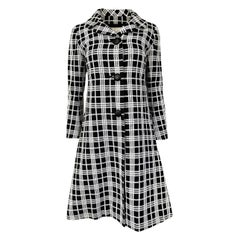 c1968 Diorling by Christian Dior Numbered Mod Black & White Check Coat
