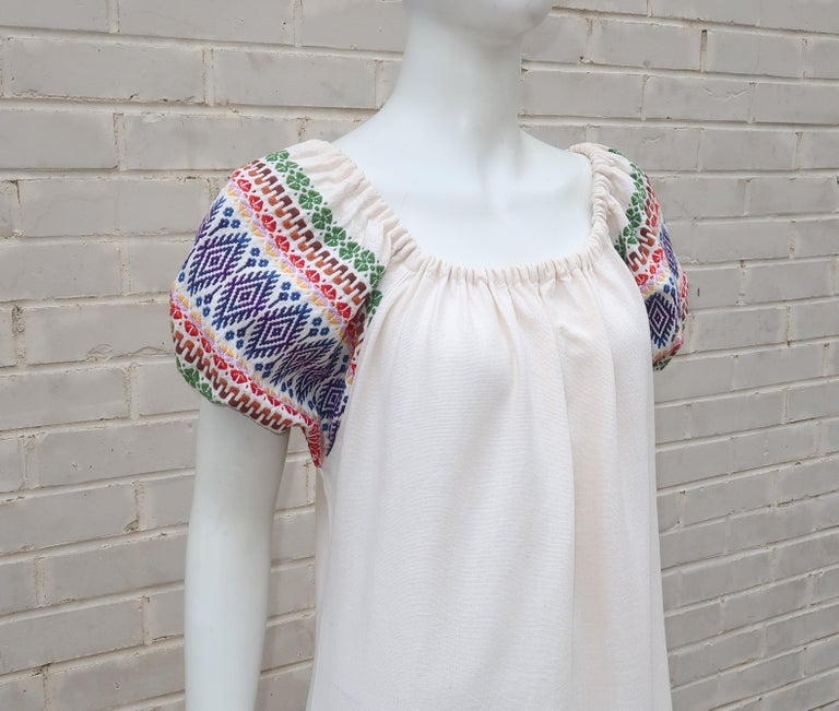 Women's C.1970 Boho Maxi Smock Dress With Colorful Design For Sale