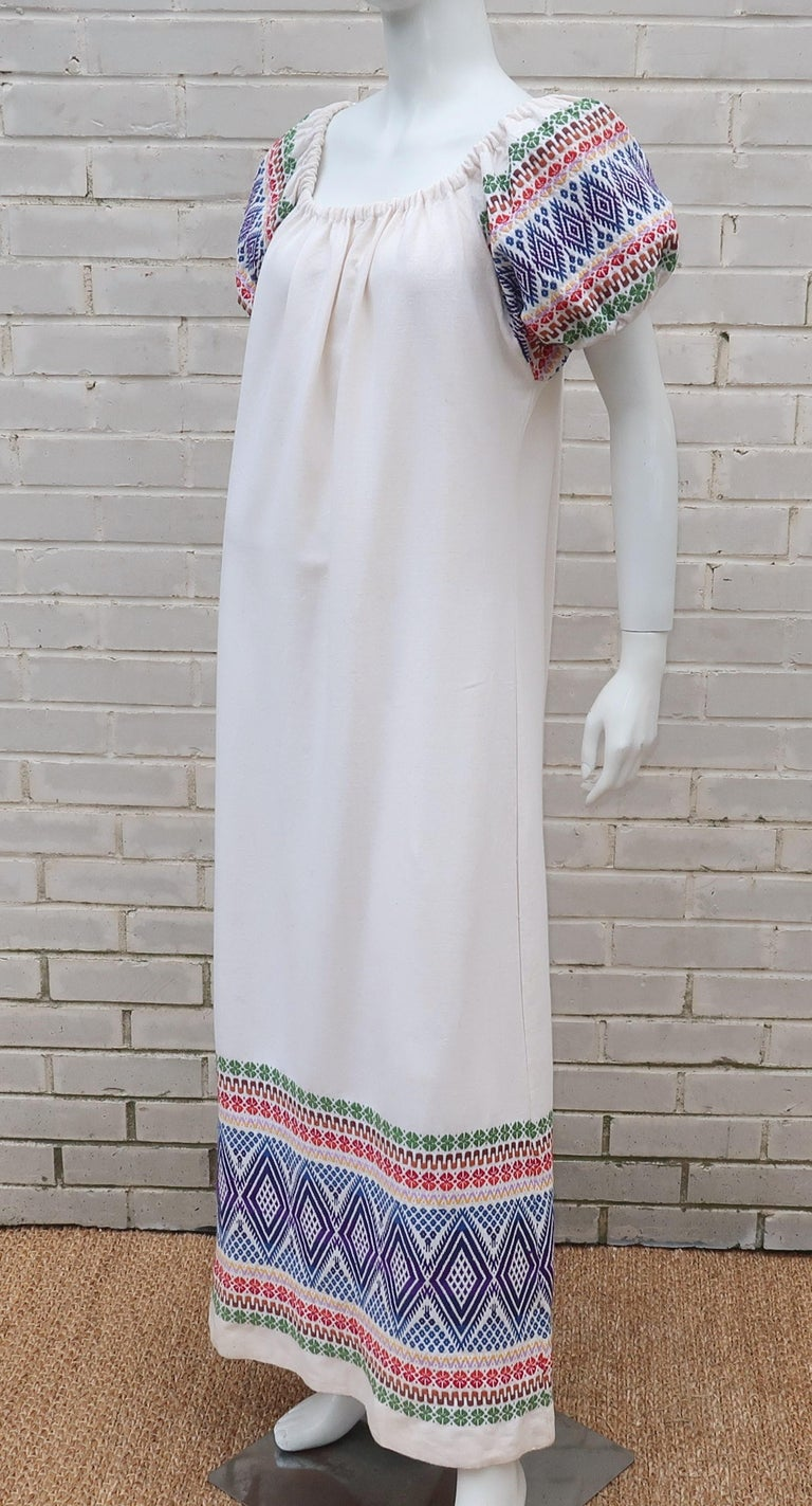 C.1970 Boho Maxi Smock Dress With Colorful Design For Sale 3