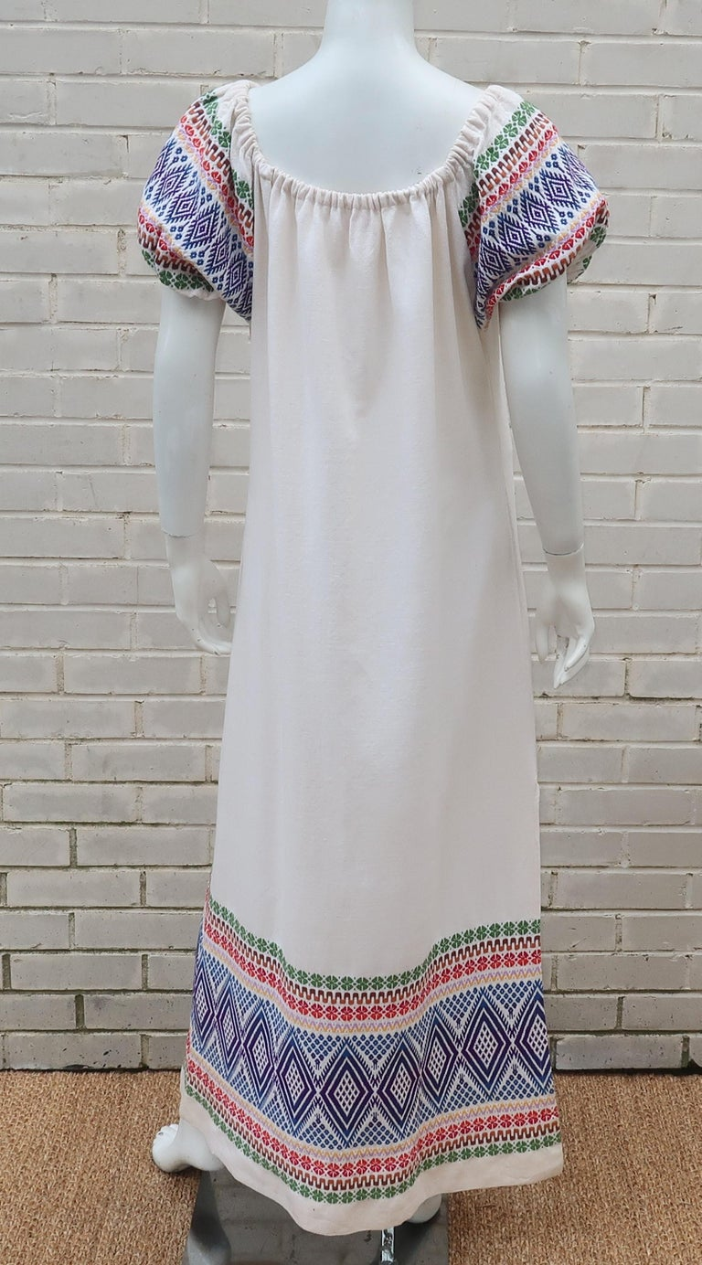C.1970 Boho Maxi Smock Dress With Colorful Design For Sale 4