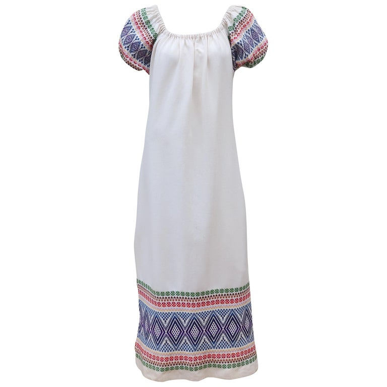 C.1970 Boho Maxi Smock Dress With Colorful Design For Sale