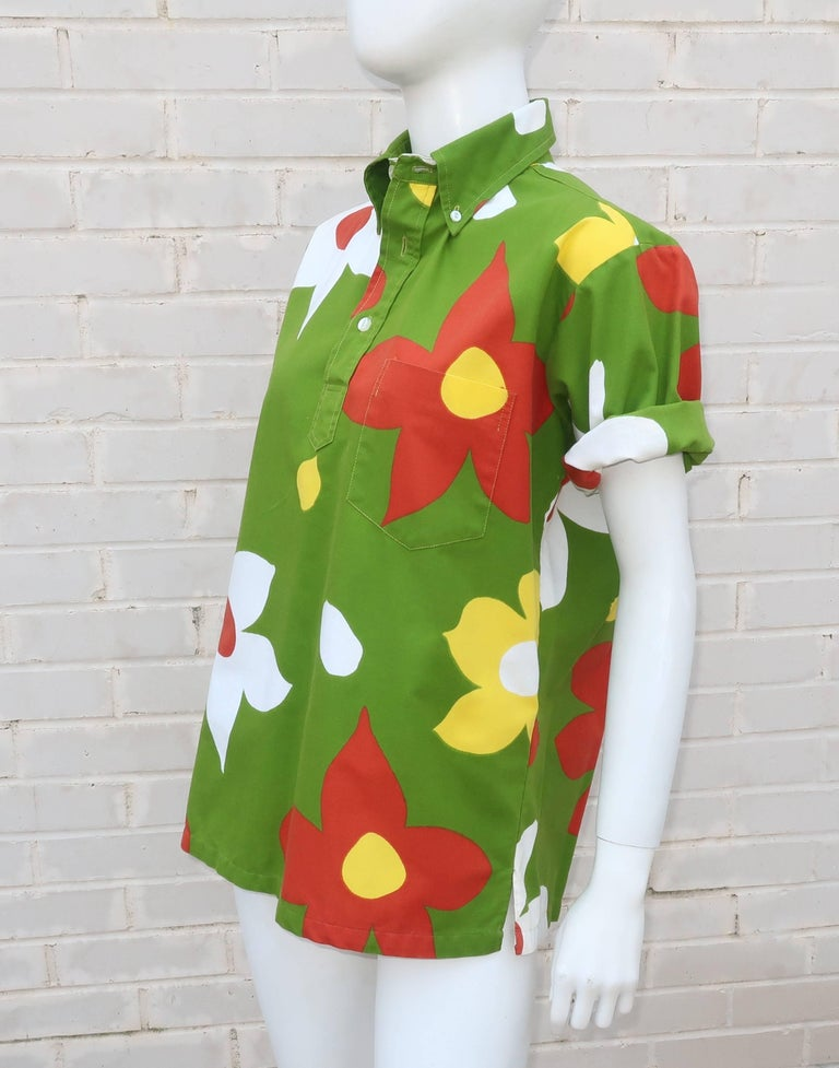 C 1970 Surf Line Cotton Hawaiian Top With Pop Floral Print
