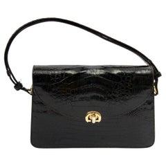 c.1970s Black Croc Convertible Shoulder Bag