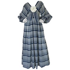 c1972 Geoffrey Beene Plunging Striped Summer Dress