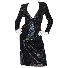 c1973 Halston Couture Glossy Black Sequin Evening Suit