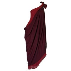 c1973 Halston Couture Silk Chiffon Dress & Shawl Overlay