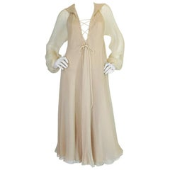 c1974 Halston Bias Cut Silk Chiffon Lace Up Front Ivory Dress