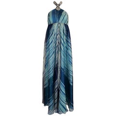 c.1974 Thea Porter Couture Documented 'Wave' Print Silk Chiffon Dress