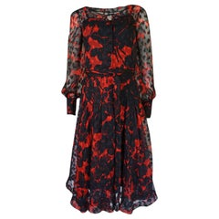 c.1976-77 Chanel Haute Couture Red & Black Floral Print Silk Dress