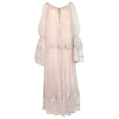 c.1976 Bill Gibb Couture High Fantasy Metallic Embroidered Silk Net Dress Set