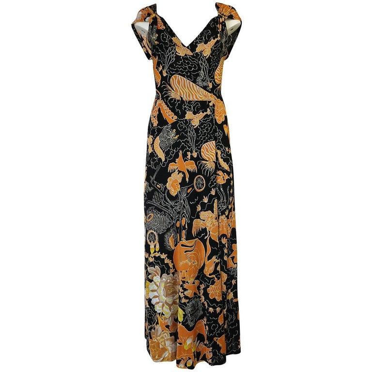 c.1976 Mac Tac Coral & Black Dragon Print Nylon Jersey Dress