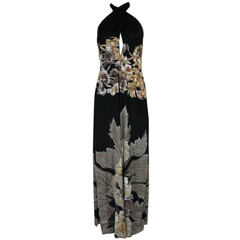 c.1976 Mac Tac Halter Tie Floral Printed Nylon Jersey Dress