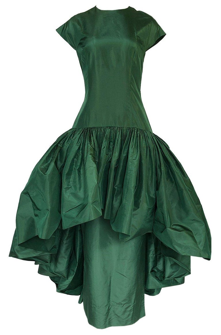 Women's c1977 Madame Gres Haute Couture Deep Green Silk Taffeta Dress & Cape For Sale