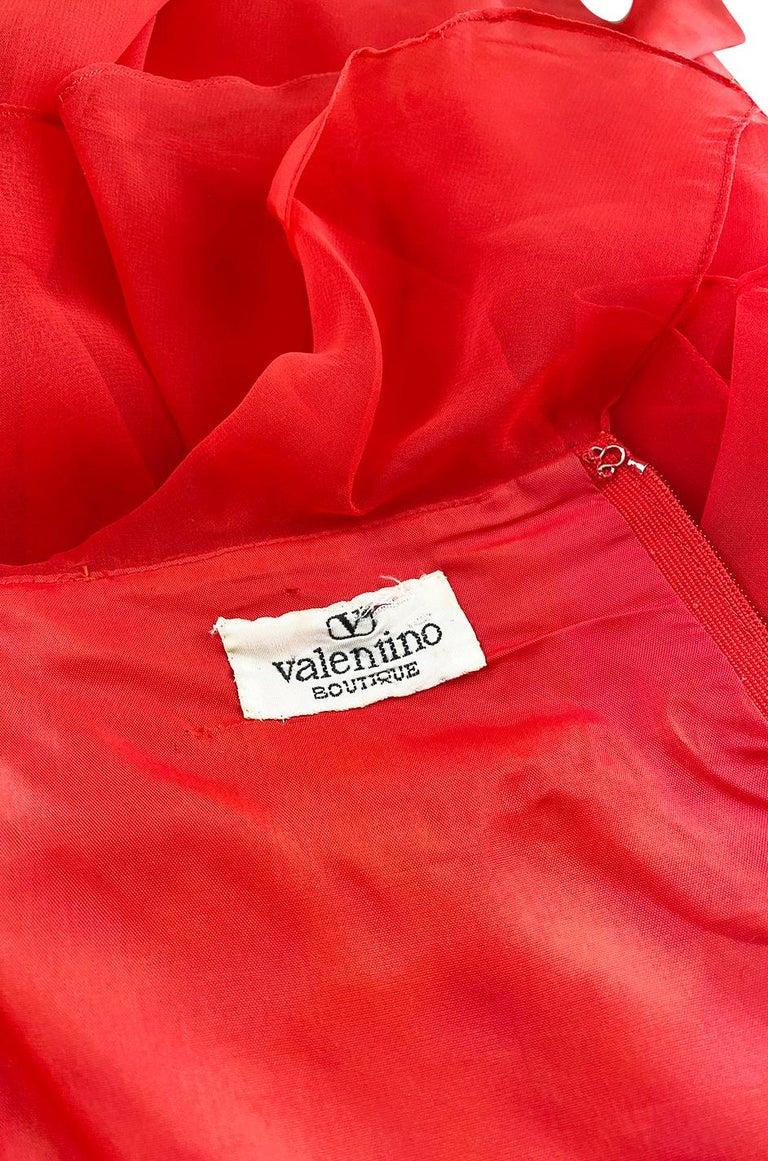 c.1977 Valentino Strapless Silk Chiffon Red Ruffle Full Length Dress For Sale 6