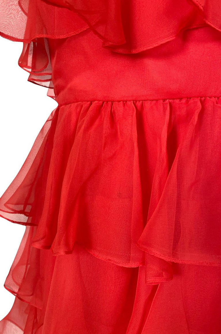 c.1977 Valentino Strapless Silk Chiffon Red Ruffle Full Length Dress For Sale 7
