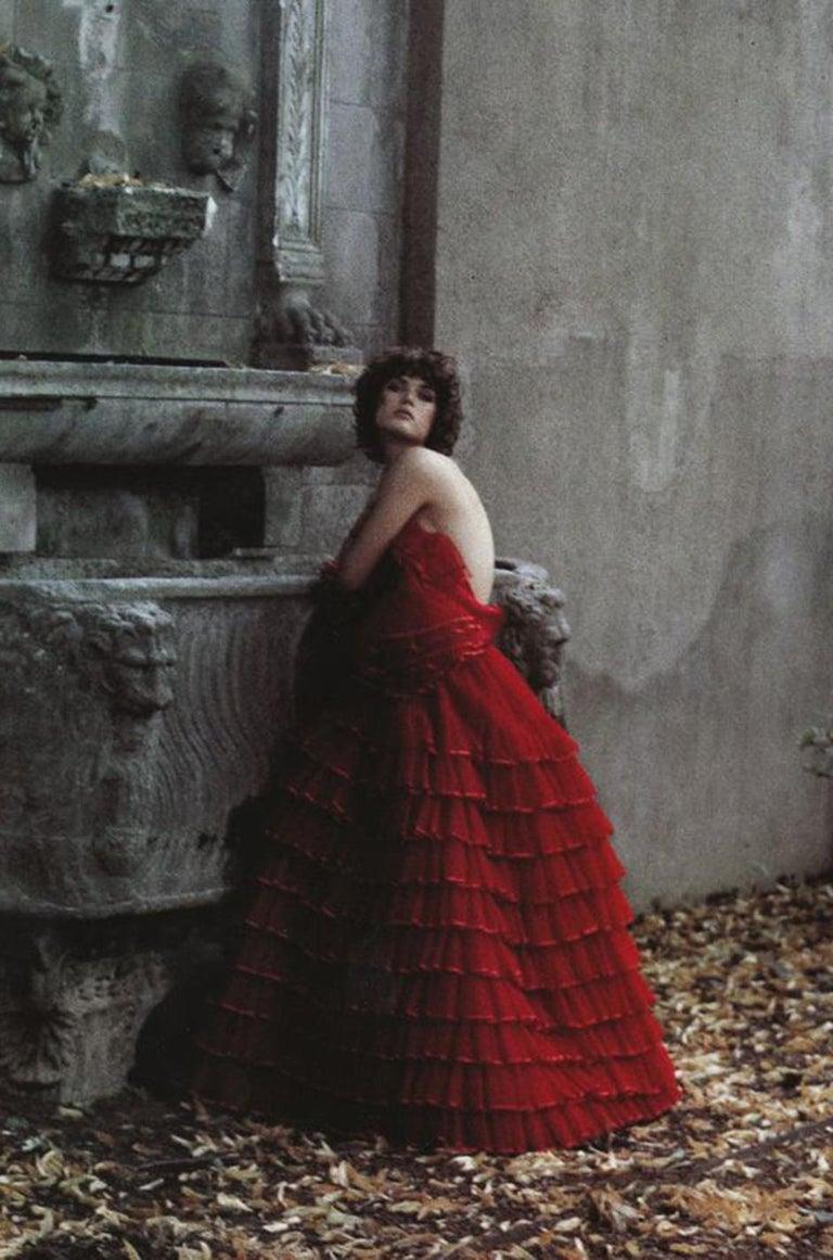 c.1977 Valentino Strapless Silk Chiffon Red Ruffle Full Length Dress For Sale 8