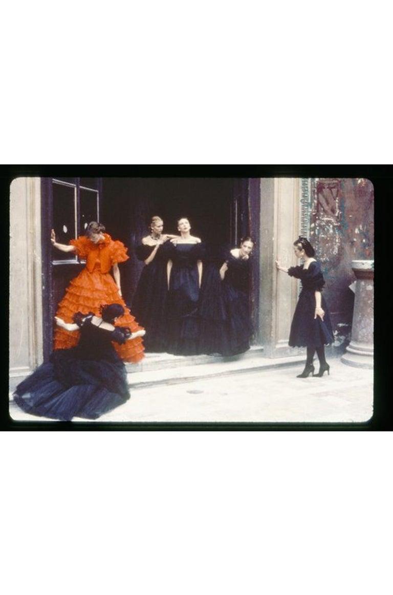 c.1977 Valentino Strapless Silk Chiffon Red Ruffle Full Length Dress For Sale 10
