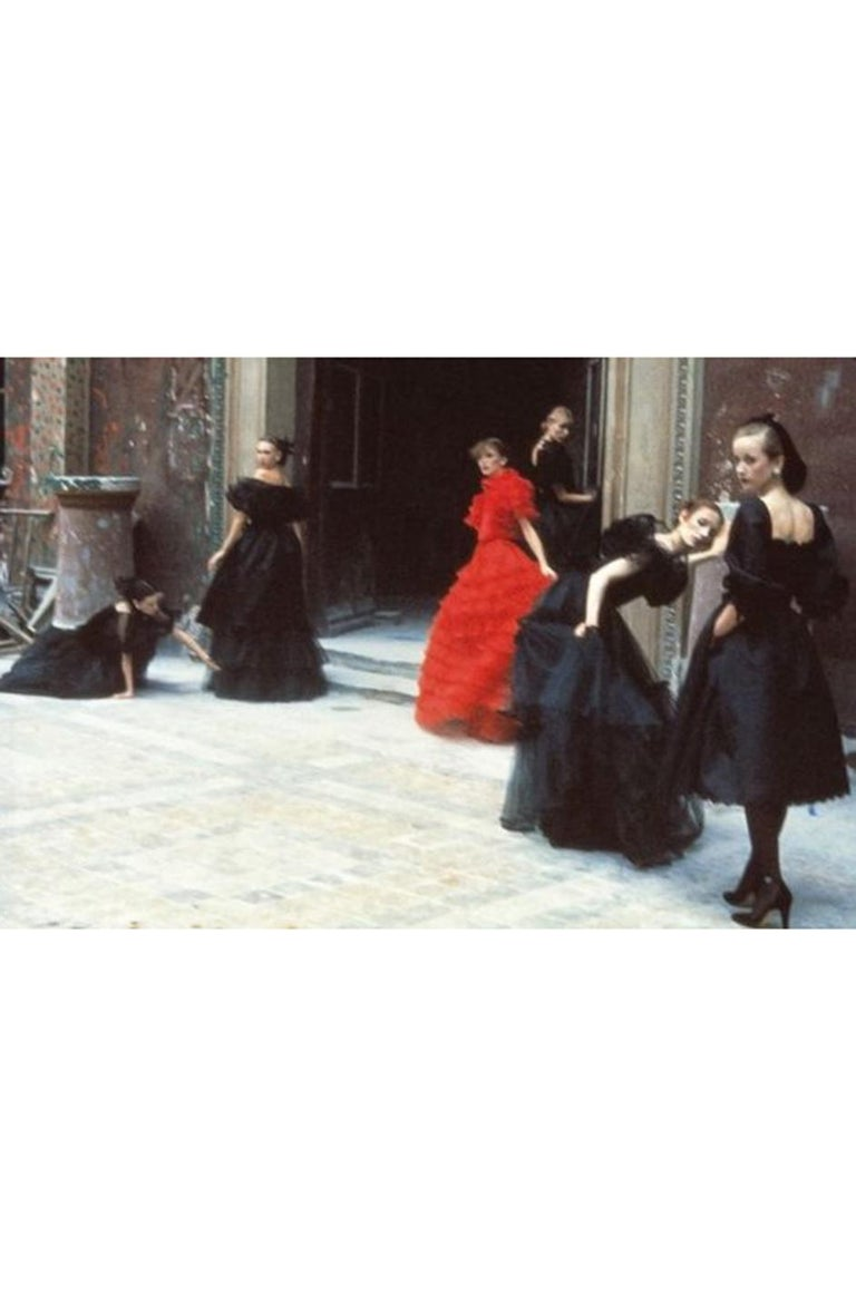 c.1977 Valentino Strapless Silk Chiffon Red Ruffle Full Length Dress For Sale 11