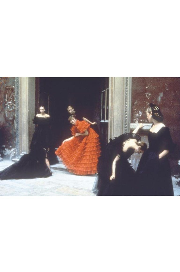 c.1977 Valentino Strapless Silk Chiffon Red Ruffle Full Length Dress For Sale 12