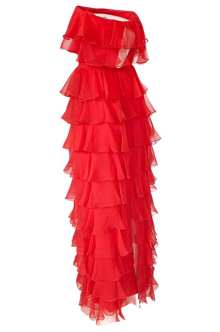 c.1977 Valentino Strapless Silk Chiffon Red Ruffle Full Length Dress For Sale 1