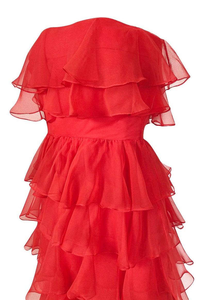 c.1977 Valentino Strapless Silk Chiffon Red Ruffle Full Length Dress For Sale 3