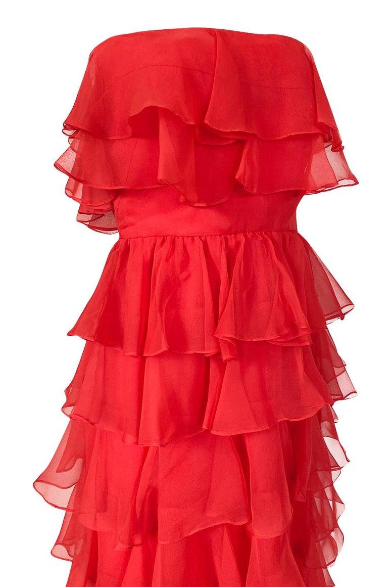 c.1977 Valentino Strapless Silk Chiffon Red Ruffle Full Length Dress For Sale 4