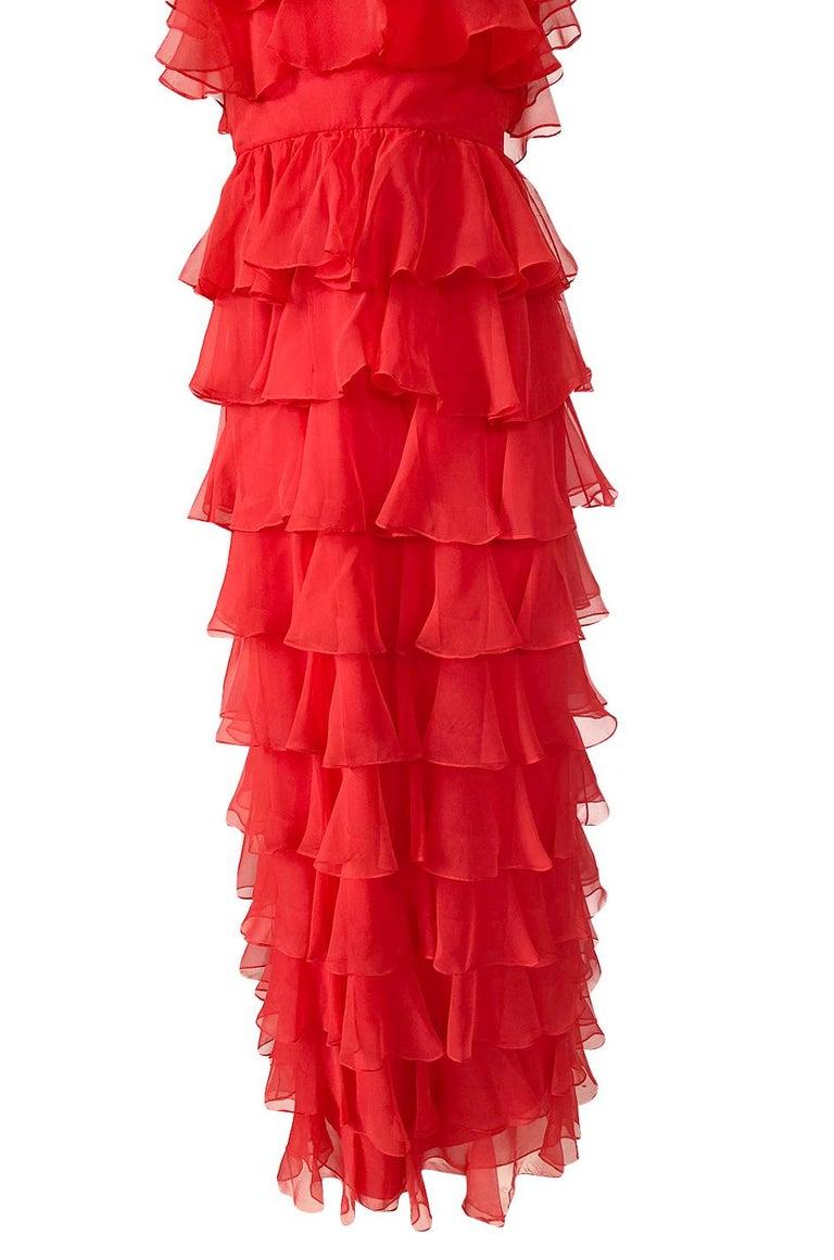 c.1977 Valentino Strapless Silk Chiffon Red Ruffle Full Length Dress For Sale 5