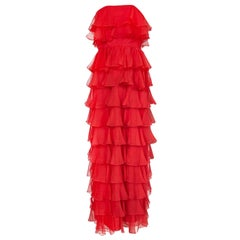 c.1977 Valentino Strapless Silk Chiffon Red Ruffle Full Length Dress