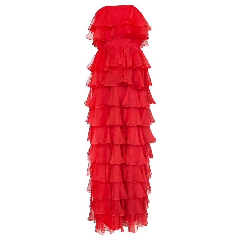 c.1977 Valentino Strapless Silk Chiffon Red Ruffle Full Length Dress For Sale