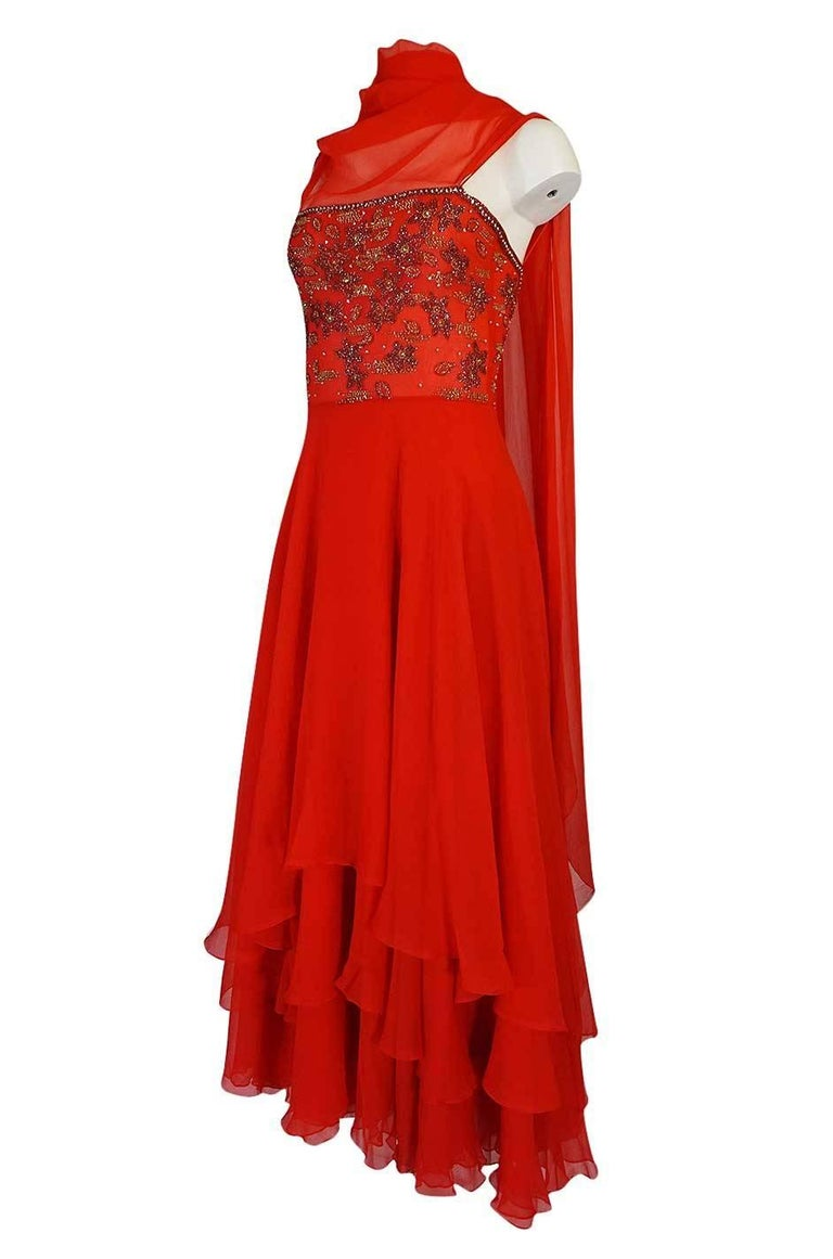 Women's c1978 Nina Ricci Haute Couture Lesage Beaded Red Silk Chiffon Dress For Sale