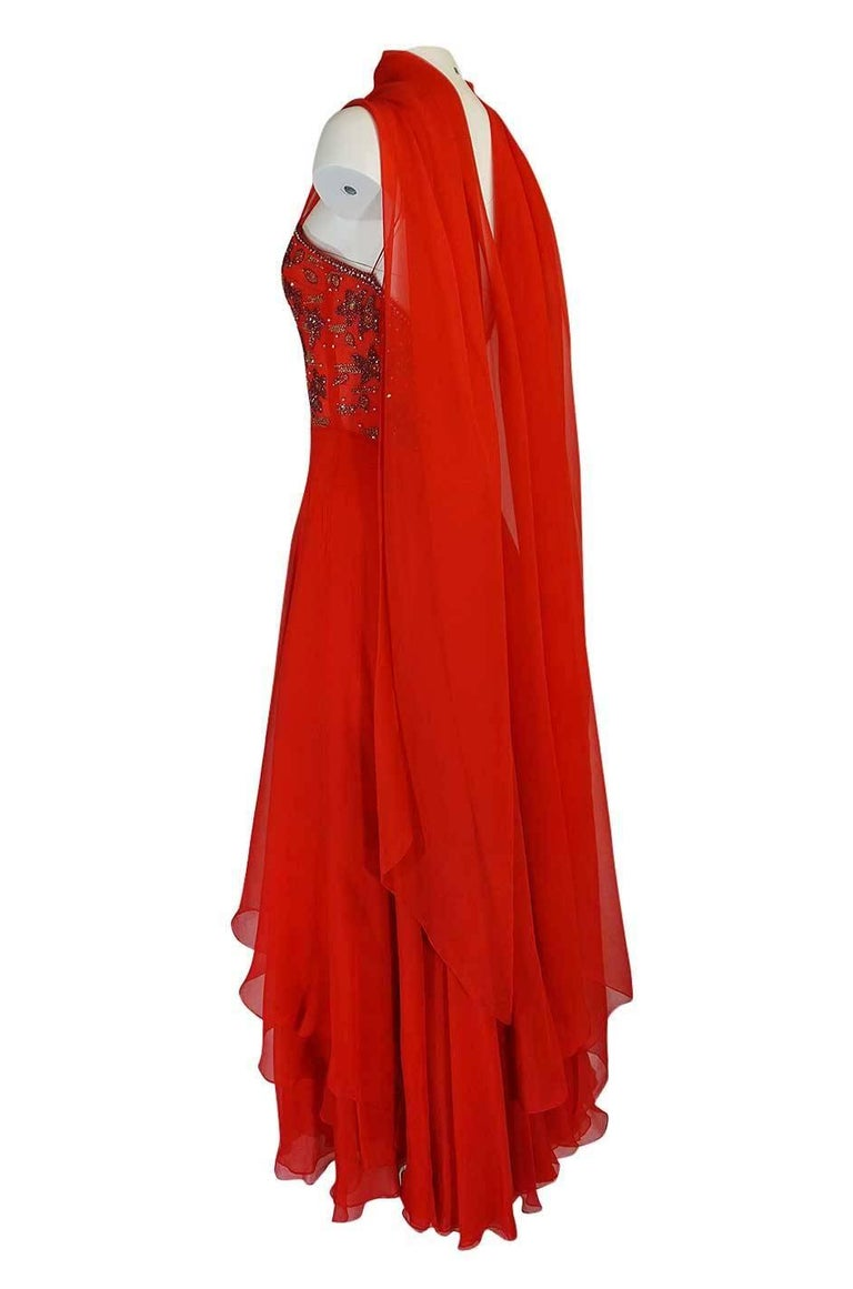 c1978 Nina Ricci Haute Couture Lesage Beaded Red Silk Chiffon Dress For Sale 1